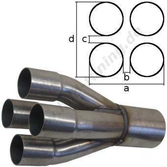 Auspuffsammler 4 in 1 - 4 x 50 mm 1 x 76 mm