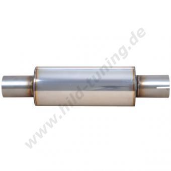 Edelstahl Universal Schalldämpfer 55 mm rund schmal mit Muffe