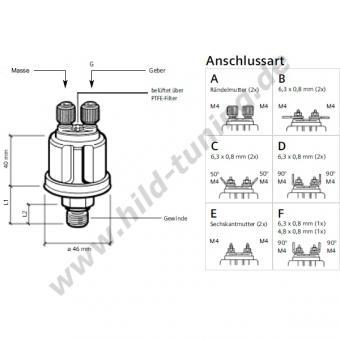 Motometer Luft-, Öldruckgeber 1/8 Zoll 25 bar massefrei