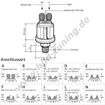 VDO Luft-, Öldruckgeber 1/8 Zoll 10 bar mit Warnkontakt
