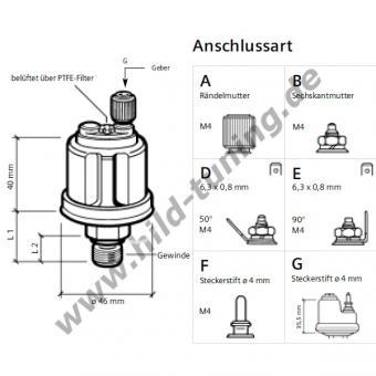 Motometer Luft-, Öldruckgeber M12x1,5 0 - 10 bar