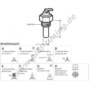 VDO Kühlwassertemperaturgeber 1/2 Zoll 120 Grad