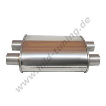 Edelstahl Universal Schalldämpfer 55 mm oval zweiflutig Short Box 140 x 220 x 250 mm