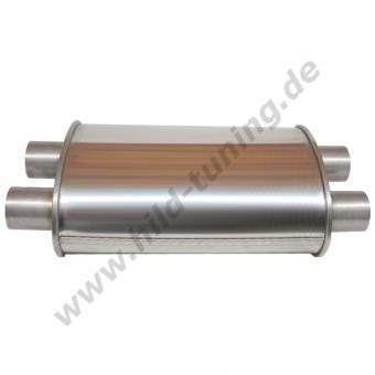 Edelstahl Universal Schalldämpfer 50 mm oval zweiflutig 140 x 220 x 350 mm