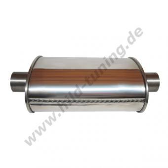 Edelstahl Universal Schalldämpfer 55 mm oval Short Box 140 x 220 x 250 mm