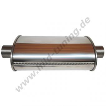 Edelstahl Universal Schalldämpfer 63,5 mm oval 115 x 185 x 420 mm