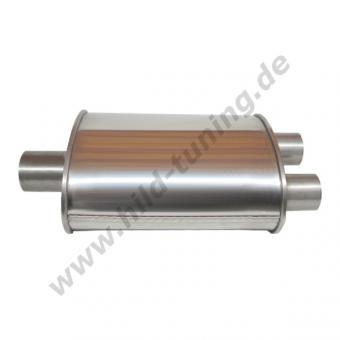 Edelstahl Universal Schalldämpfer 76 / 60 mm Y Verlauf Short Box 140 x 220 x 250 mm