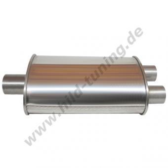 Edelstahl Universal Schalldämpfer 63,5 / 50,8 mm Y Verlauf 115 x 185 x 320 mm