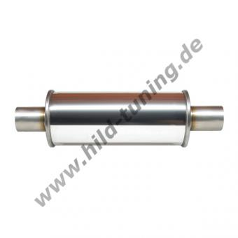 Edelstahl Universal Schalldämpfer 63,5 mm rund Short Box 125 x 250 mm