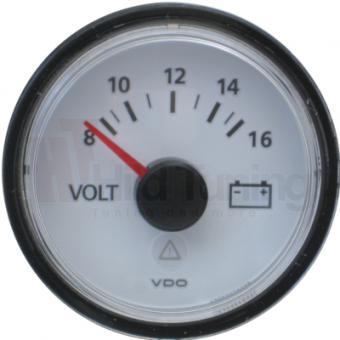 VDO Viewline Voltmeter 8 - 16 Volt weiß