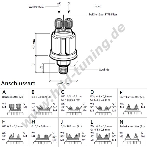 VDO Luft-, Öldruckgeber mit M10x1 Kegelgewinde 5 bar Warnkontakt 0,5 bar