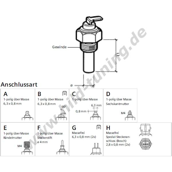 VDO Öltemperaturgeber mit M10x1 Kegelgewinde 150 Grad